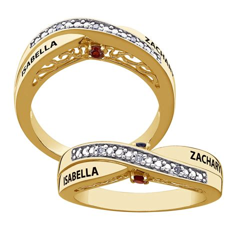 secret expressions gold over sterling couple s genuine birthstone name diamond ring 38549