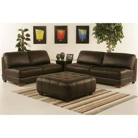 leather sofa and ottoman set armless all leather tufted seat sofa and loveseat with