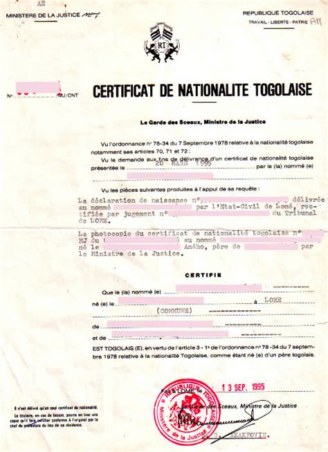 bureau de naturalisation eregulations togo