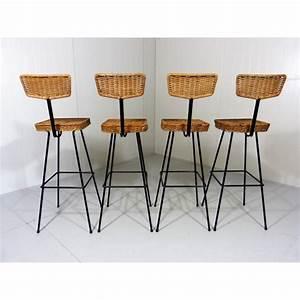 Tabouret De Bar En Rotin : set de 4 tabourets de bar en rotin 1950 design market ~ Teatrodelosmanantiales.com Idées de Décoration