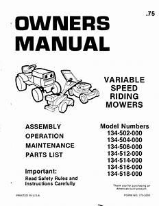 Noma Riding Mower Service Manual