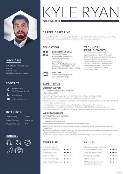web developer resume template  adobe photoshop