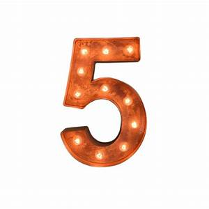 "12"" Number 5 (Five) Sign Vintage Marquee Lights - Buy ..."