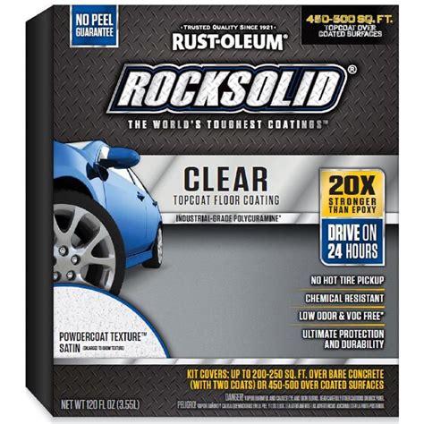 rust oleum rocksolid 120 oz clear texture top coat garage