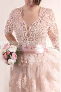 blush plus size wedding dress plus size reception blush pink wedding alencon lace dress 3 4 sleeves bridal gown