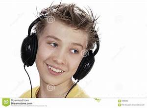 Boy Listening To Music With Headphones. Royalty Free Stock ...