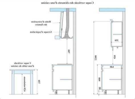 hauteur hotte de cuisine hauteur et largeur du plan de travail collection et