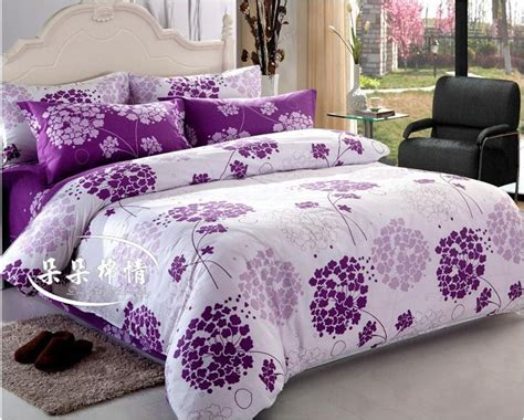 Purple And White Comforter Sets Flower 4pcs Bedding Set