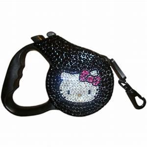 Hello Kitty Kat Swarovski Crystal Retractable Dog Leash Caviar p 464