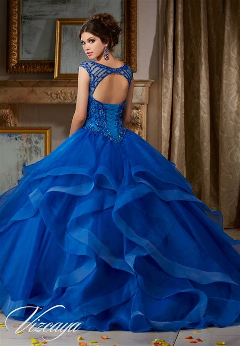 flounced organza quinceanera dress style  morilee