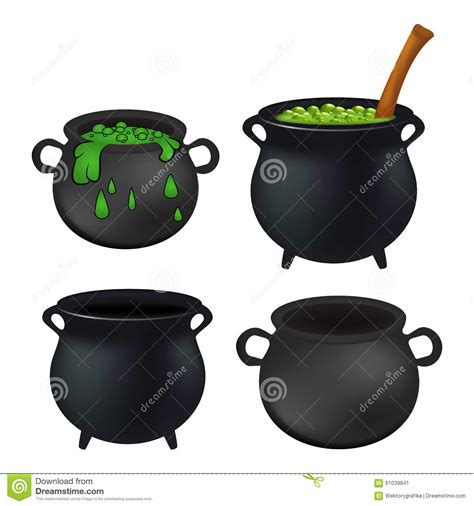 il calderone della strega vuoto e con pozione verde streghe di ribollimento fa l insieme