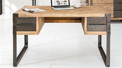 bureau metal et bois bureau droit design industriel bois massif et métal jorg