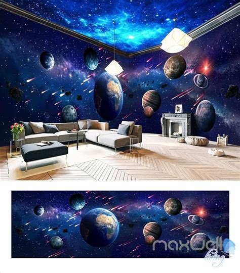 space universe planet theme space entire room wallpaper