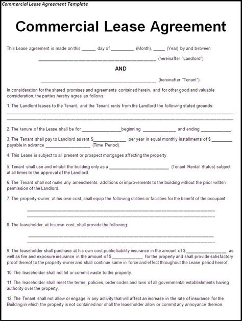 lease agreement sample commercial lease agreement sample free printable documents