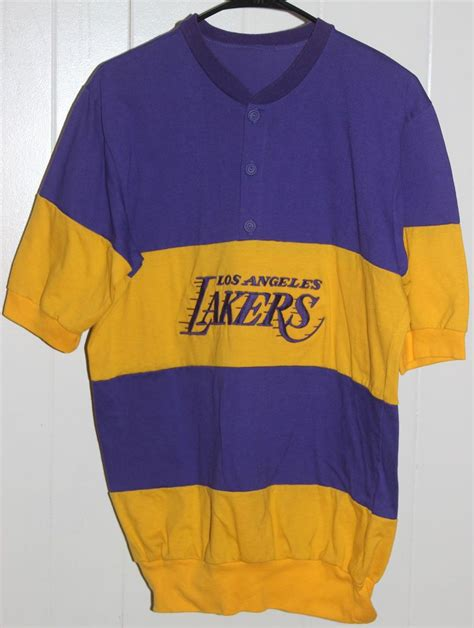 Los Angeles Lakers Vintage Striped 1/4 Button Warmup ...