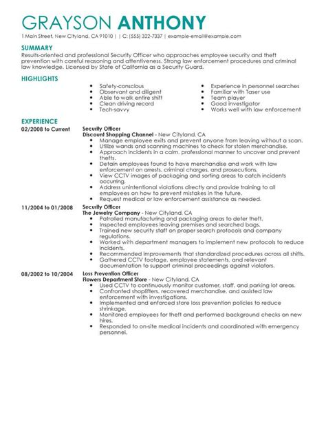 Security Resume Sles by Best Security Officers Resume Exle From Professional