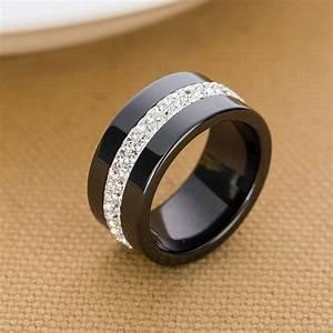new 10mm black and white 2 row crystal ceramic ring women With black ceramic wedding rings