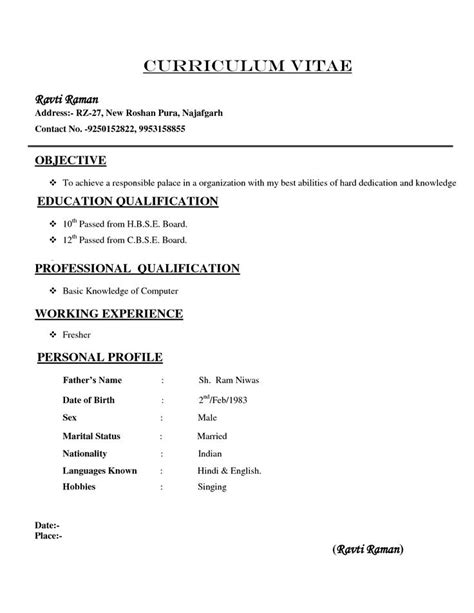 Resumes Formats And Exles by Types Of Resume Format Resumes Template Cv Format
