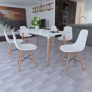 Salle a manger blanche 1 table rectangulaire 6 chaises for Meuble salle À manger avec chaise de salon pas cher