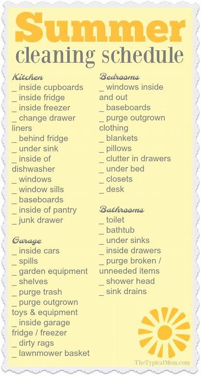 Cleaning Summer Clean Monthly Schedule Checklist Printable
