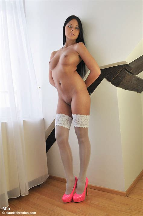Swarthy Teen In White Stockings And Pink Hi Xxx Dessert Picture 4