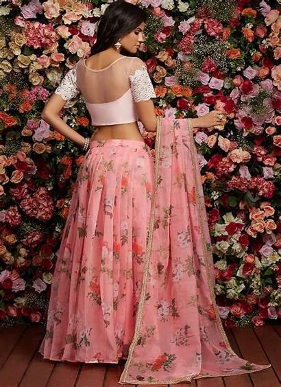 Lehenga Floral Organza Embroidered Indian Skirt Lehengas
