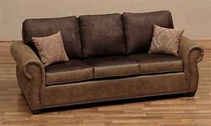 Burly Collection Leather Upholstered Queen Sleeper Sofa