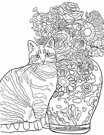 Coloring Cats Cat Mouse Flowers Pages Colouring