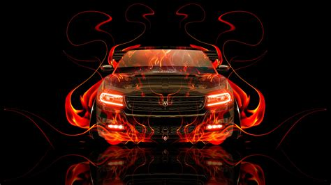 dodge charger rt muscle front fire abstract car  el tony