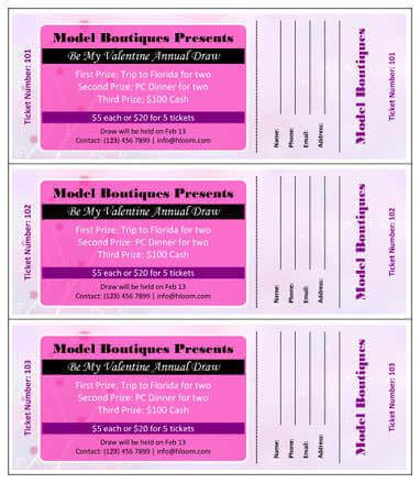 Ticket Stub Template Pink And Blue by 15 Free Raffle Ticket Templates In Microsoft Word Mail Merge