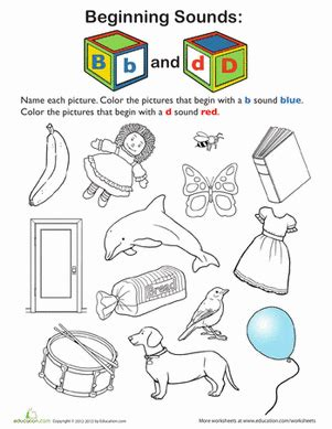review beginning sounds b and d worksheet education