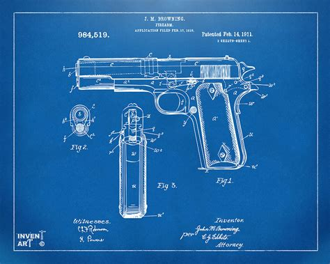 1911 Colt 45 Browning Firearm Patent Artwork Blueprint ...