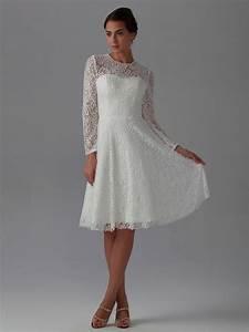 2015 new best elegant a line knee length long sleeve lace With knee length long sleeve wedding dress