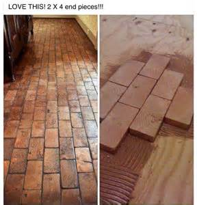 2x4 faux brick floor with wood blocks wooden blocks for