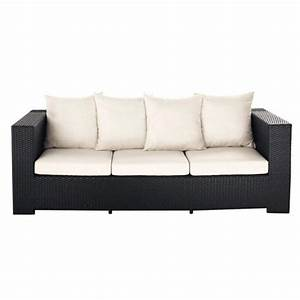 Canape de jardin 3 places en resine tressee noir miami for Tapis de couloir avec canape resine tressée 3 places