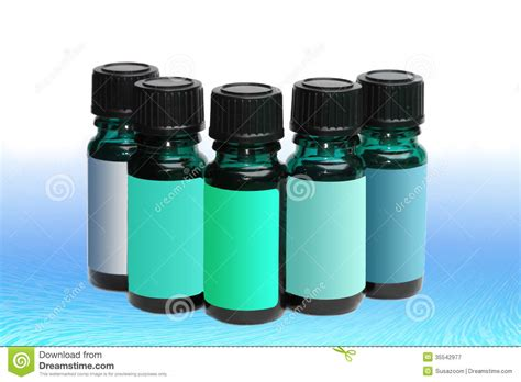 Assortment Of Aromatherapy Bottles With Blank Labels In