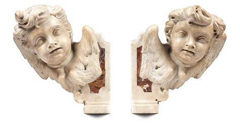 mensole in marmo scuola romana xvii secolo coppia di 171 teste di putti