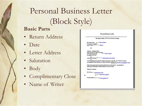 personal business letter parts ppt guidelines for personal business letters powerpoint