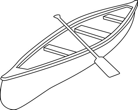 Boat Line Art by Canoe Coloring Page Free Clip Art