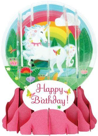Unicorn Snow Globe Pop Up Birthday Card