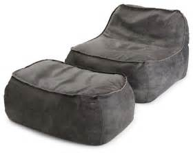 lounge chair and ottoman in charcoal leather
