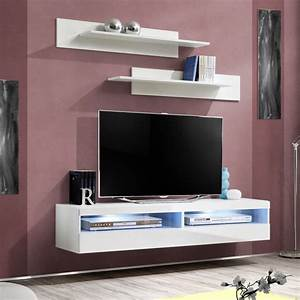 Banc Tv Suspendu : meuble tv mural design fly iv 160cm blanc ~ Teatrodelosmanantiales.com Idées de Décoration