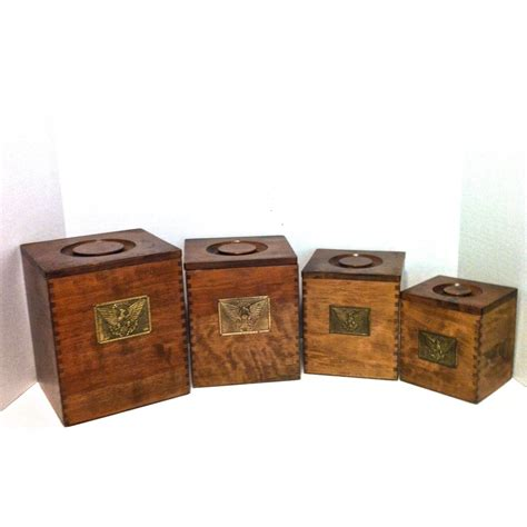 Kitchen Storage Canisters by Vintage Canister Set Wood Canister Set Nesting Canister