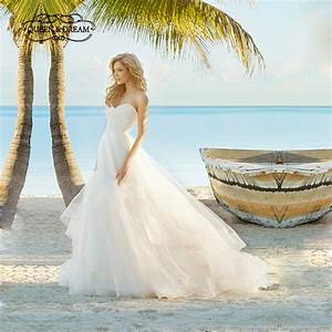 romantic lace beach wedding dress white tulle beaded lace With romantic beach wedding dresses
