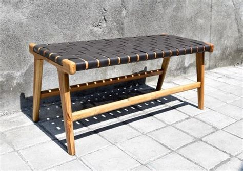 woven leather strap bench genuine leather strips  diy