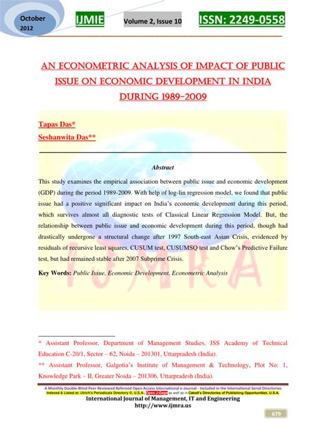bureau for research and economic analysis of development an econometric analysis of impact of issue on