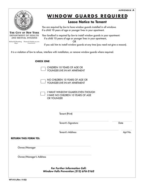 Nyc Lead Paint Disclosure Form by New York City Window Guard Notice Lease Addendum Ez