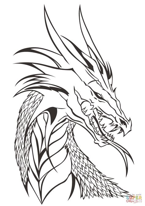 dragon head coloring page  printable coloring pages