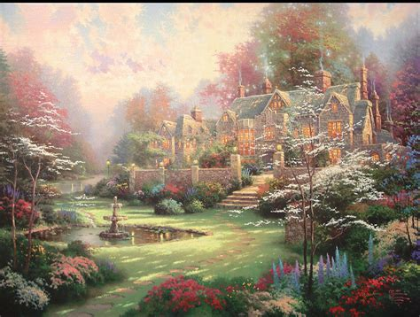 kinkade cottage painting monkey in the middle hated by the world loved by the