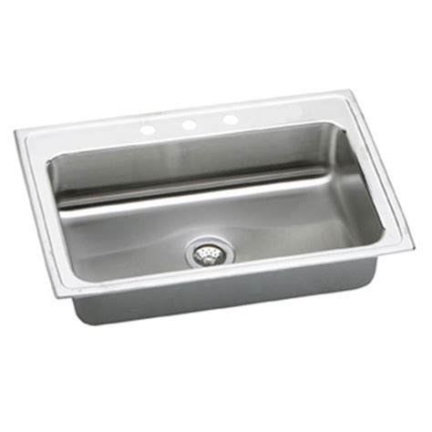 elkay pacemaker 33x22 3 hole single bowl sink psrs33223